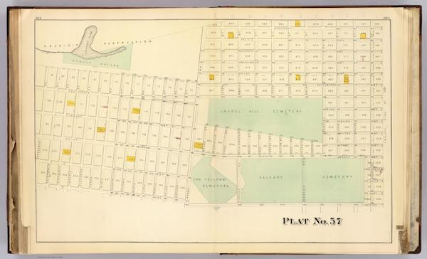 Les 4 principaux cimetières de San Francisco en 1876 (David Rumsey Map Collection)