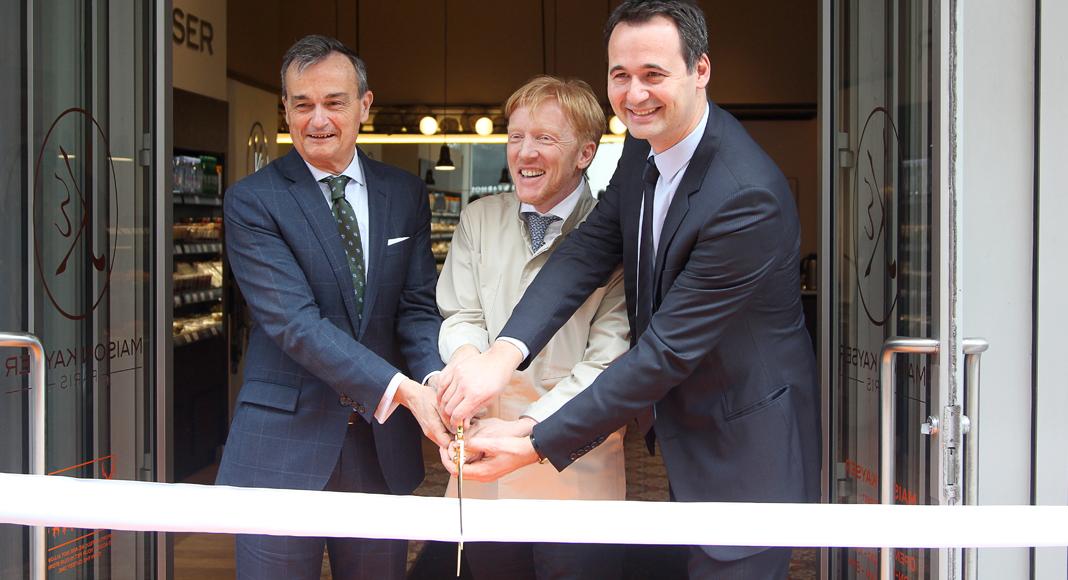 Eric Kayser, entouré de l'ambassadeur Araud (à gauche) et de Louis-Jean Egasse, en charge de la Maison Kayser aux Etats-Unis.