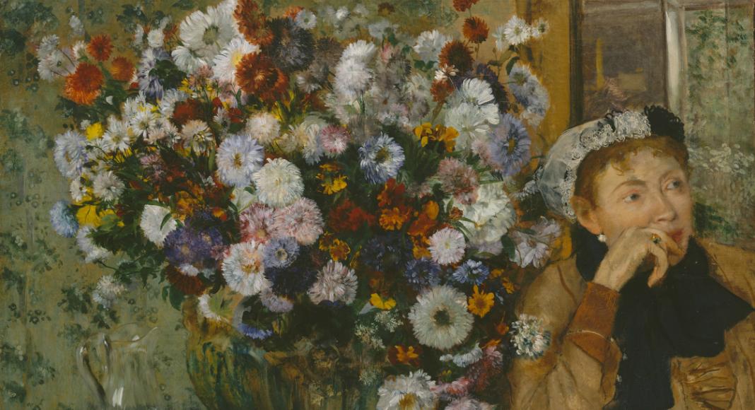 Femme assise à côté d'un vase fleurs, de Edgar Degas (1865). Photo: courtoisie du MET
